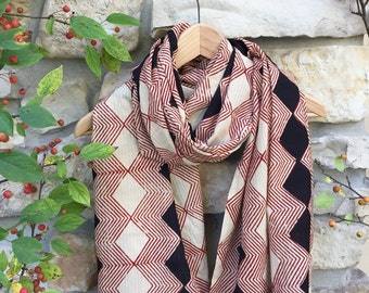 Extra large Diamond pattern black and deep red cotton scarf, Hand block printed, Natural Vegetable Dyes, 100% Cotton scarf