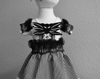 Jack Skellington Inspired Girls Costume, Nightmare Before Christmas costume, Baby Girl Jack Skellington Costume, 12months,18months, birthday