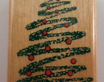 Christmas Tree #2 #483 1991 With Ornaments Wooden Rubber Stamp