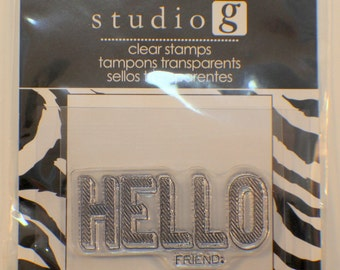 Studio G Hello Friend Cling Clear Rubber Stamp