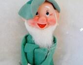 Vintage Knee Hugger Elf Christmas St. Patrick's Day Green White Beard Shamrocks Made in Japan Pixie Gnome