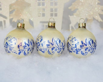 Vintage White Blue Glitter Christmas Ornaments Stenciled Bows Holly Set of 3 Three 1960's