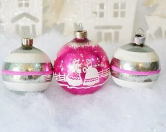 Vintage Christmas Ornaments Pink White Silver Striped Snow Shiny Brite Set of 3 Three  1950's