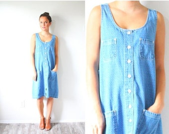 30% OFF out of town SALE Vintage jean dress // boho mini jean overall dress // light blue speckled polka dot jean dress // pocket summer dre