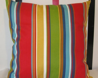 Outdoor red gold olive blue stripe pillow cover 24 X 24