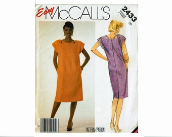 Easy 80s Straight Dress Size 10 Bust 32 1/2 Uncut 1980s Sewing Pattern square neckline with straps McCalls 2433