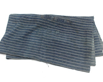 Antique Japanese Boro. Hand Woven Cotton Fabric. Hand Stitched and Patched Folk Textile. Natural Indigo Striped Ikat.  (Ref: 1466)
