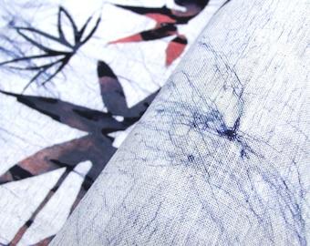 Japanese Artisan Cotton. Vintage Yukata Bolt. Blue Pink Maple Leaf. Batik Shibori Katazome (Ref: 90)