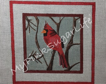Hand Painted Cardinal Needlepoint Canvas by MyPinkSugarLife