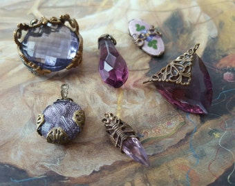 6 Vintage Amethyst Purple Czech & Art Glass Pendants and Pieces UPCYCLED