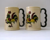 """Vintage Metlox Poppytrail - Set of Two Green Rooster 5"""" Grand Mugs"""