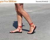 LAST SALE 20% OFF Barefoot Handmade Women's Shoes, Strappy Leather Lace Up Sandals, Colorful Toe Ring Flat Sandals - Kiss