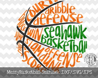 Messy Seahawk Basketball design INSTANT DOWNLOAD in dxf/svg/eps for use with programs such as Silhouette Studio and Cricut Design Space