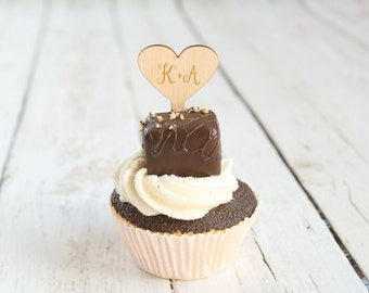 Heart Cupcake Toppers Love Bridal Shower Wood Wedding Cupcake Topper