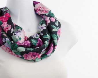 Short Infinity Scarf Bold Pink Fuchsia and Purple Floral on Black ~ SK211-S5