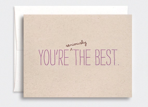 Funny Mothers Day Card - You're Seriously the Best - Eco Friendly Brown Recycled Card, Purple - Birthday Card for Mom