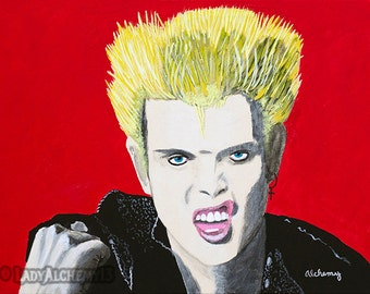 Billy Idol Rebel Yell White Wedding 80s Punk Rock Portrait Signed Print of Original Painting Surreal Dark Jewel Tones Art by LadyAlchemy13