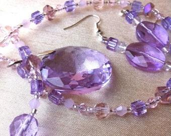 Lavender pendant on delicate necklace & earrings set - glass, crystal, mauve, purple