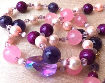 Pink and purple necklace & earrings set - magenta, mauve, natural stone, soft pink faux pearls