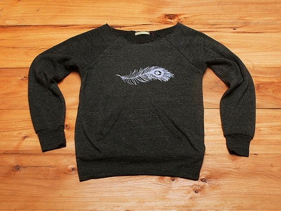 in the midst Feather Sweatshirt, Feather Sweater, Off Shoulder Top, Yoga Top, S,M,L,XL