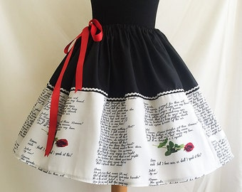 Romeo And Juliette, Literature Skirt,Book Skirt By Rooby Lane