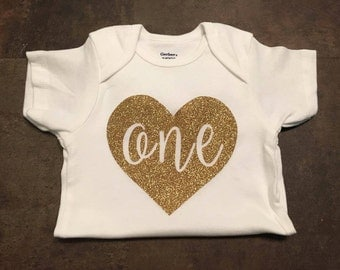 Glitter Heart/ One/ Birthday Onesie/ Girls First Birthday Onesie