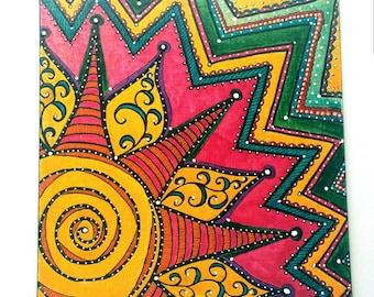 Sweet Sunshine - Original Mixed-Media on Canvas, 8 x 8
