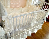 Linen Baby Bedding 5 pieces. Skirt, Bumpers, Blanket, Pillow, 3 Decorative Bows. Innocence.