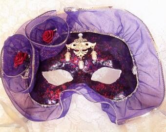 Purple and Red Glitter Masquerade Mask