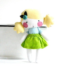Rag doll stuffed toy stuffed doll plushie softie bright colors yellow turquoise blue lime green handmade flower rose hair pin 9.8 inch 25 cm