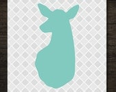 Woodlands Turquoise Deer Doe Head Silhouette on Gray Quatrefoil Background 8x10 printable