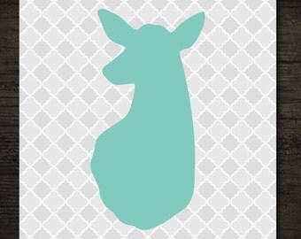 Woodlands Turquoise Deer Doe Head Silhouette on Gray Quatrefoil Pattern Printable Artwork / 8x10 Instant Art Print