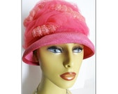 1950s Hat  .  Pink  .  Swirls of Ornamentation .  Femme Fatale Couture Mad Men Garden Party Rockabilly