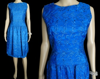 Vintage 1950s Dress  . Saphire Blue . Embroidered . Dropped waistline . Mad Man - Rockabilly