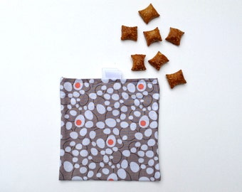 Reusable Snack Bag.  Egg Print. Velcro Closure with Pull Tabs.