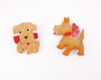 Your Choice - Wood Scotty Dog - Vintage Wood Carved Pin of a Scotty Dog - With Red Bow - Left or Right - Too Cute