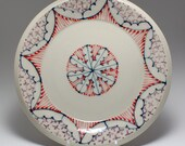 Wheel Thrown Handmade Ceramic Sandwich Plate with Navy, Red and Purple Pattern