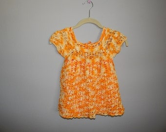 Hand Crocheted Vintage Baby Dress 2T 3T Handmade Cotton Lined Buttons Ribbon Toddler Hippie Bohemian Boho
