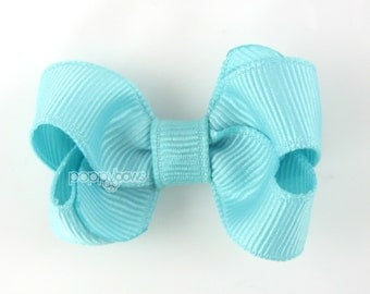 Small Hair Bow 2 Inch in Aqua Blue - Toddler Hairbow Non Slip Alligator Clip - for Baby Girls