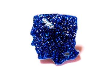 Glittery Blue Acrylic FRANKENSTEIN Adjustable Ring