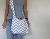 Cross Body Hobo Bag. Chevron Purse. OR Shoulder Bag. Small Purse. Gray and white Purse. Spring Line.