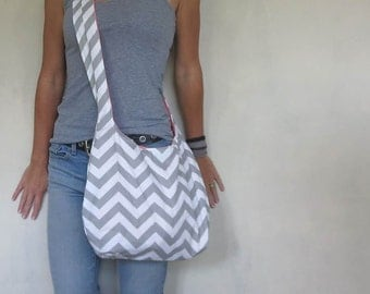 Cross body hobo bag. chevron purse choose large or medium handbag. gray and white purse.