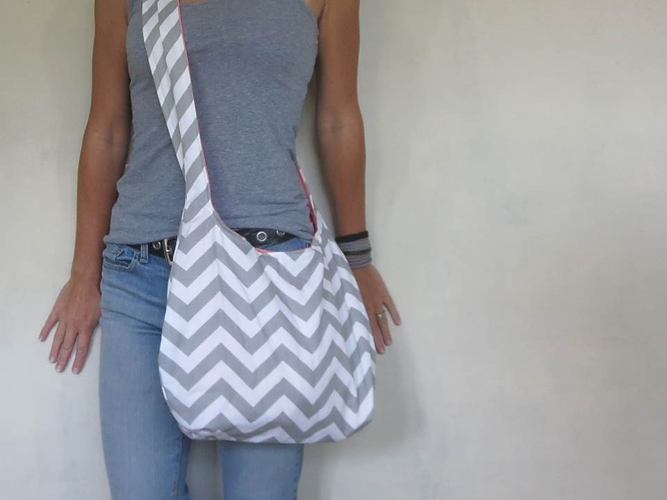 Cross Body Hobo Bag. Chevron Purse. OR Shoulder Bag. Small