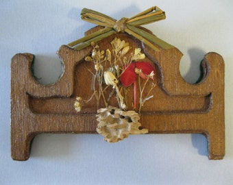 Doll House Miniature Wood Dried Pressed Flower Wall Hanging #30
