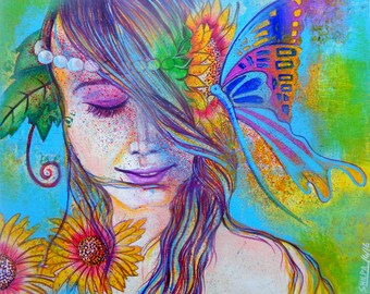 Girl with the peaceful butterfly kiss 3 Acrylic painting ORIGINAL ARTWORK