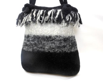 Dreadlock Fringed Hand Knit Felted Wool Purse in Dove Grey and Black