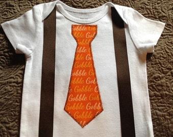 Baby Boys Thanksgiving Tie & Suspender Baby Toddler Bodysuit