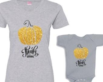 Thanks Giving Gold Pumpkin Matching Heather Shirt Set