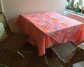 "Vintage Round  Floral Tablecloth by Leacock & Co. 70"", Mod Pink and Orange Tablecloth"