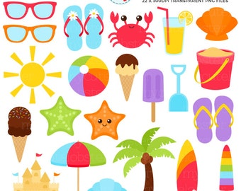 Beach Clipart Set - sandcastle, summer, sunglasses, palm tree, crab, clip art set - personal use, small commercial use, instant download